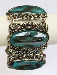 Dramatic, Mid Century, Faux Turquoise & Antiqued Silver Tone, Wide Bracelet