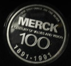 1oz Fine Silver Merck Company Round
