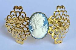 Romantic Victorian 'Lady Cameo' Cuff Bracelet