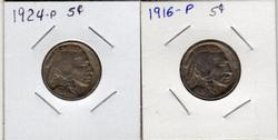 2 Different Buffalo Nickels: 1916-P and 1924