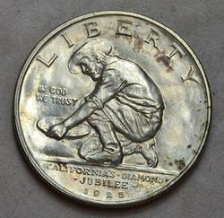 1925-S California Jubilee Commemerotive Half Dollar, UNC