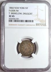 1864 NY,NY Druggist Store Card, CWT, NGC, R-7