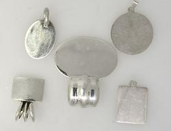 Ready To Engrave, Group Lot of Slides and Pendants, Sterling