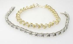 Pair of 7 inch Sterling and Shimmering CZ Bracelets