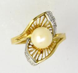 Diamond Accent 7.5mm Natural Pearl Ring
