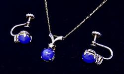 Star Sapphire Earring and Pendant set in White Gold