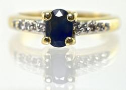 Traditional 14K Oval Sapphire Ring