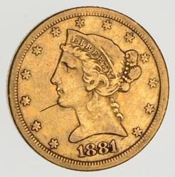 1881-CC $5.00 Liberty Head Gold Half Eagle- Circulated