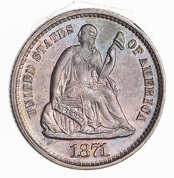 1871 Seated Liberty Half Dime - Not Circulated - Rainbow Toned