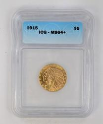 MS64+ 1915 $5.00 Indian Head Gold Half Eagle - ICG Graded