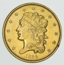 1834 $5.00 Classic Head Gold Half Eagle - Not Circulated