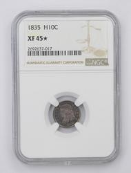 XF45 STAR 1835 Capped Bust Half Dime NGC