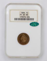 PF65RB CAC 1895 Indian Head Cent - NGC Graded