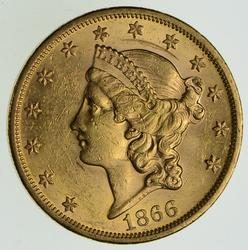1866 $20.00 Liberty Head Gold Double Eagle - Circulated