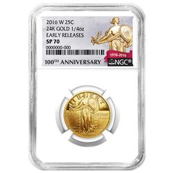2016-W 1/4 oz Gold Standing Liberty Quarter NGC SP70 ER