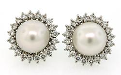 Exquisite Pearl & Diamond Halo Earrings