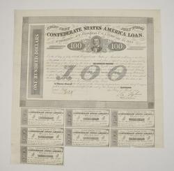 (23) 1863 $100.00 Confederate States of America Loan Bonds