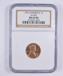 MS63RD 1961-D/Horiz D Lincoln Memorial Cent - NGC Graded