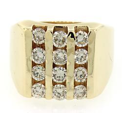 Very Impressive Gents 3 Row Diamond Ring