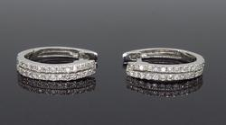14K White Gold Huggie Style Hoop Earrings
