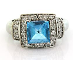 Outstanding Blue Topaz & Diamond Ring