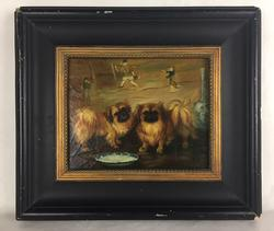 Lovely Tibetan Spaniels, Charming Example of Chinoiserie, Oil on Board