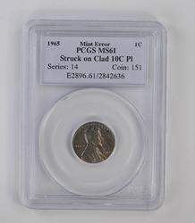 MINT ERROR: Struck on Clad 10C Pl 1965 Lincoln Memorial Cent - PCGS Graded
