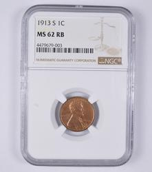 MS62RB 1913-S Lincoln Wheat Cent - NGC Graded