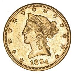 1894-O $5.00 Liberty Head Gold Half Eagle - Circulated