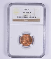 MS66RD 1946 Lincoln Wheat Cent - NGC Graded