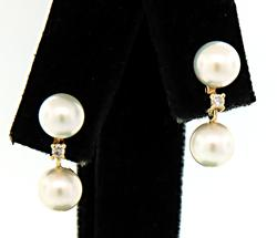 Sweet Pearl & Diamond Dangle Earrings