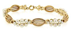 Vintage Cable Bracelet with Pearl Stations