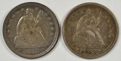 2 Very sharp 1853 with Arrows Liberty Seated Half Dimes