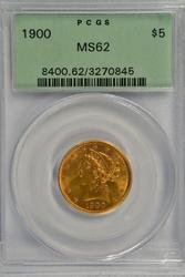 Very Choice BU 1900 $5 Liberty Gold Piece. PCGS MS62