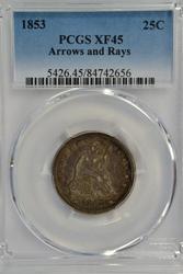 PCGS XF45 1853 Arrows & Rays Liberty Seated Quarter
