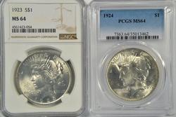 2 Near Gem BU 1923 & 1924 Peace Dollars. NGC & PCGS-64