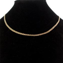 Solid Yellow Gold Braided Chain Necklace