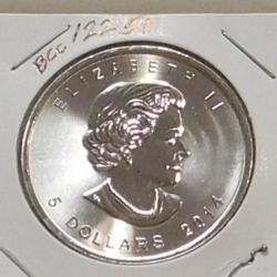 2014 One Ounce .9999 pure Silver Canadian Maple Leaf