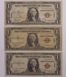 Trio of $1 Hawaii Emergency Currency WWII SC
