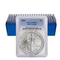 PCGS MS69 Run of 10 Silver Eagles 2000-2009