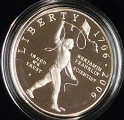2006 PROOF Franklin - Scientist Silver Dollar, Mint box