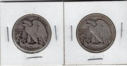 2 Different Years of Silver Walking Liberty Halves