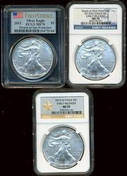 3 PCGS & NGC MS70 American Silver Eagles: 2011 & 2013