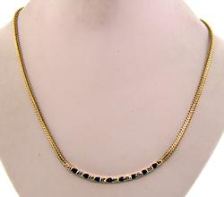 Terrific Diamond & Sapphire Bar Necklace