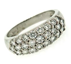 Platinum 3 Row Diamond Band at 1.25 CTW