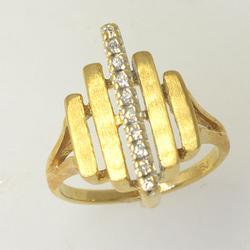 Rare Geometric Diamond Accent Ring