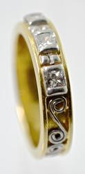 Artistic 18K and Platinum & Diamond Band