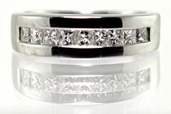 Unisex 14K Princess Cut Diamond Band