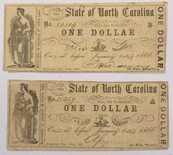 State of North Carolina One Dollar Notes  1861