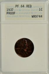Full Red Proof 1937 Lincoln Cent. ANACS PF64 RED